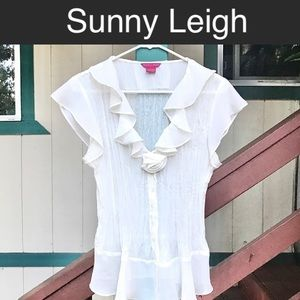Sunny Leigh Sheer Off White Flower Front Blouse